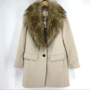 Kate Spade Faux Fur Collar Pumice Coat NWT